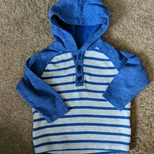Boys blue and gray striped knit pullover hoodie